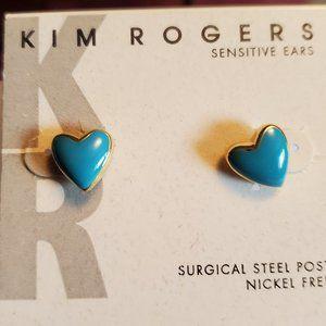 Gold Tone Teal Kim Rogers Heart Theme Stud Earring